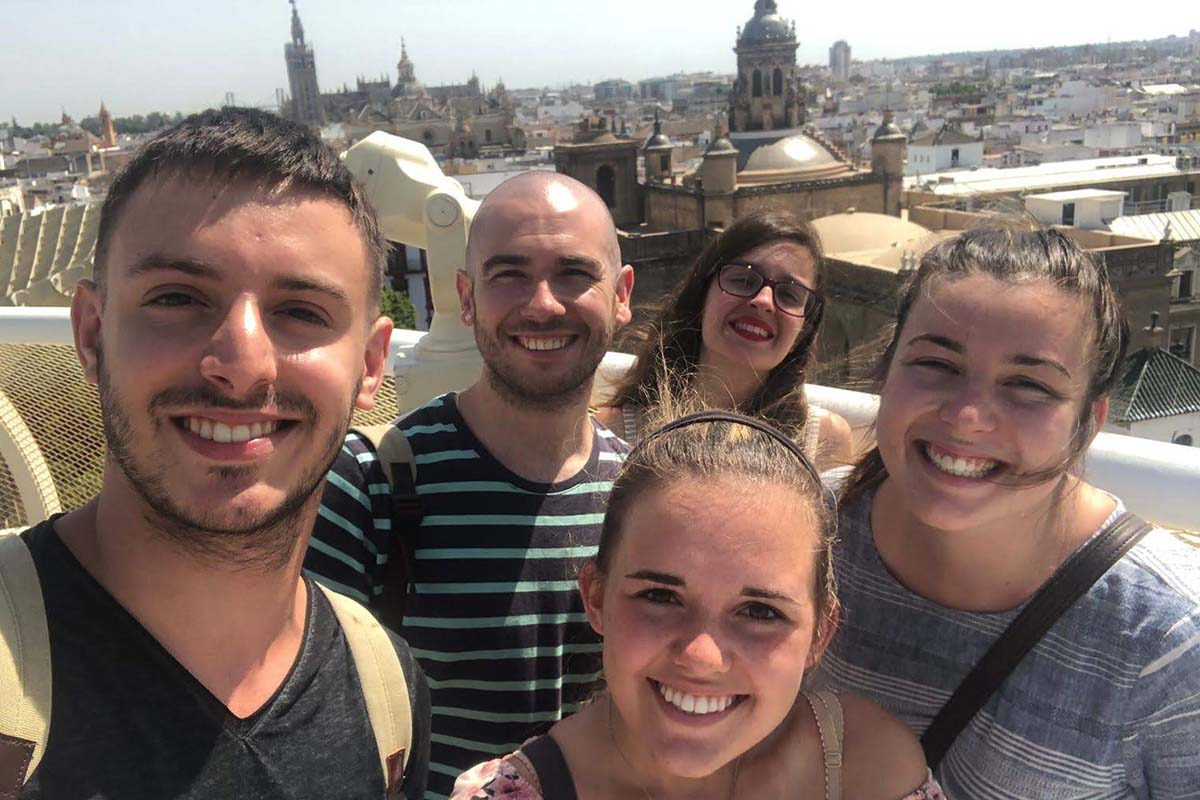 Jessie Lewis (Mercer University) With American And Local Spanish Friends In Seville (practicum In Education, Summer 2019)
