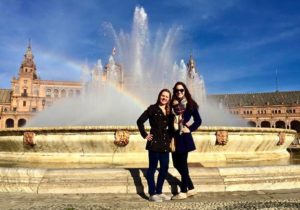 Katherine Frego Two American Students In Seville's Famous Plaza De Espana