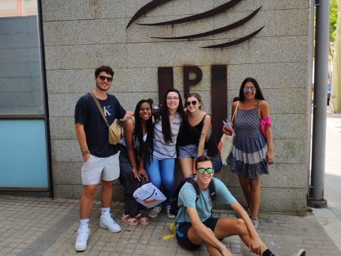 BCN - Summer 2019 - students in front of UPF sign